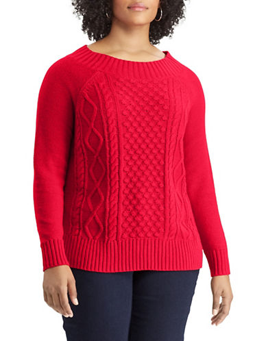 Chaps Plus Cable Knit Sweater-RED-2X