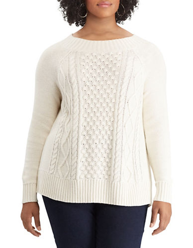 Chaps Plus Cable Knit Sweater-NATURAL-2X