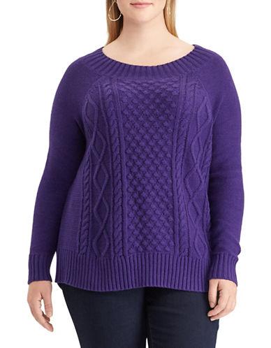 Chaps Plus Cable Knit Sweater-PURPLE-2X