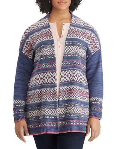 Chaps Plus Graphic Drop-Shoulder Cardigan-BLUE-2X