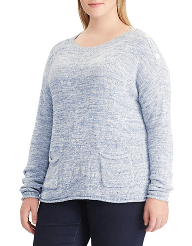 Chaps Plus Buttoned Sweater-BLUE-3X
