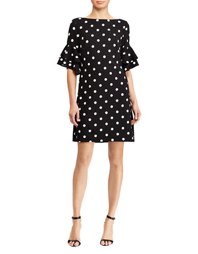 Lauren Ralph Lauren Polka Dot Shift Dress-BLACK-16