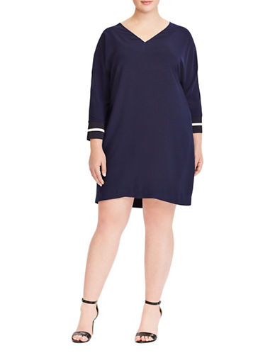 Lauren Ralph Lauren Plus Crepe Shift Dress-NAVY-18W