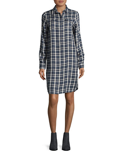 Chaps Leon Shirt Dress-BLUE MULTI-Large