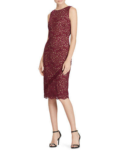 Lauren Ralph Lauren Sleeveless Lace Dress-RED-4