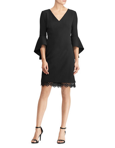 Lauren Ralph Lauren Crepe Bell-Sleeve Dress-BLACK-8