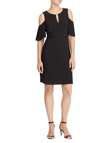 Lauren Ralph Lauren Cold-Shoulder Sheath Dress-BLACK-10