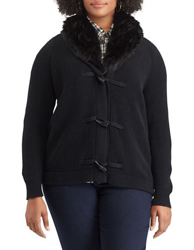 Chaps Plus Faux-Fur Trim Shawl Cardigan-BLACK-2X