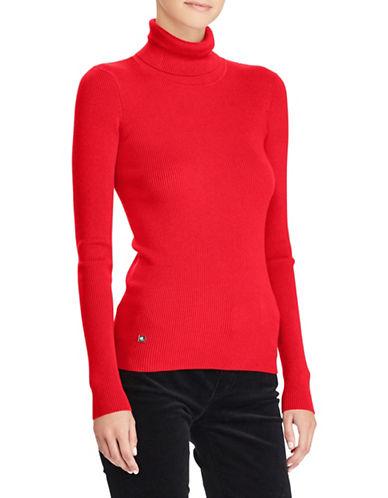 Lauren Ralph Lauren Ribbed Cotton-Blend Turtleneck-RED-X-Large