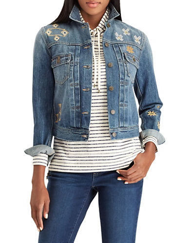 Chaps Embroidered Denim Jacket-BLUE-Small