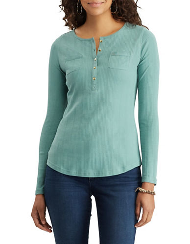 Chaps Ribbed Cotton Henley-GREEN-Large