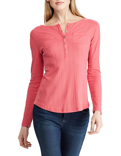 Chaps Ribbed Cotton Henley-CORAL-Small