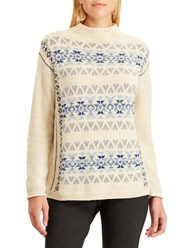 Chaps Fair Isle Patterned Sweater-CREAM-Small