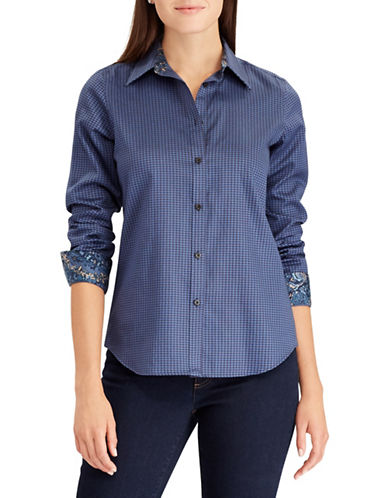 Chaps Non-Iron Houndstooth Cotton Button-Down Shirt-BLUE-X-Small