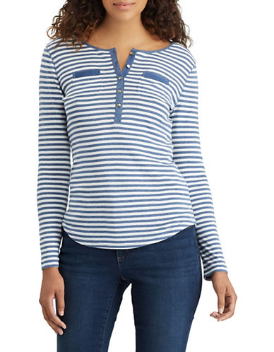 Chaps Striped Long Sleeve Henley-BLUE-Small