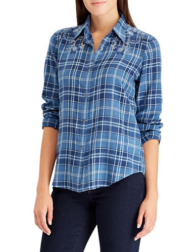 Chaps Plaid Cotton Button-Down Shirt-BLUE-Small