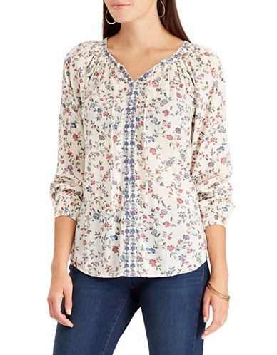 Chaps Embroidered Floral Peasant Top-WHITE-X-Large