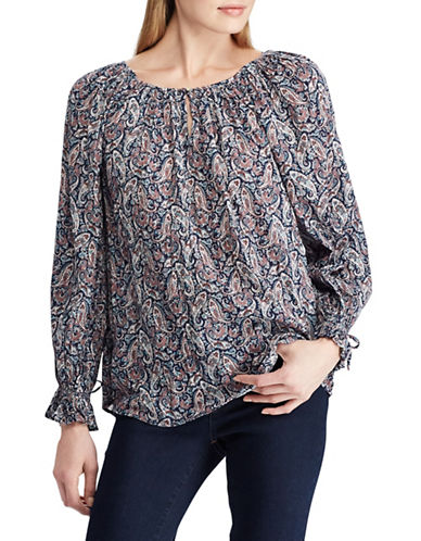 Chaps Paisley Long-Sleeve Blouse-NAVY-Large