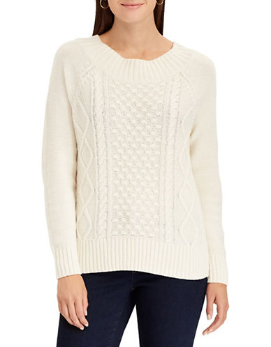 Chaps Cable Knit Sweater-NATURAL-Small