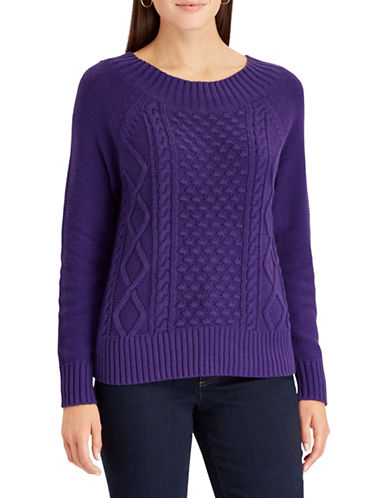 Chaps Cable Knit Sweater-PURPLE-Small