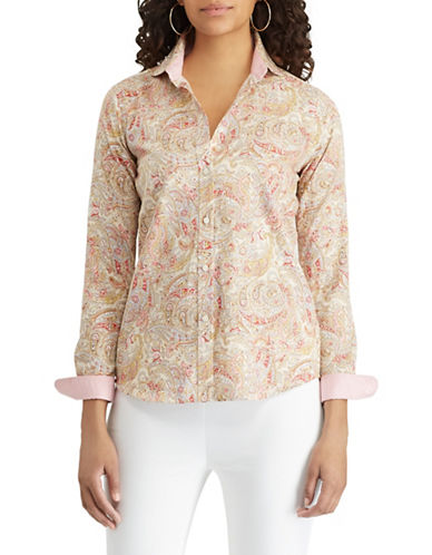Chaps Paisley Cotton Button-Down Shirt-BEIGE-X-Small
