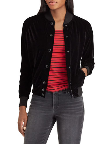 Chaps Velvet Baseball Jacket-BLACK-Medium