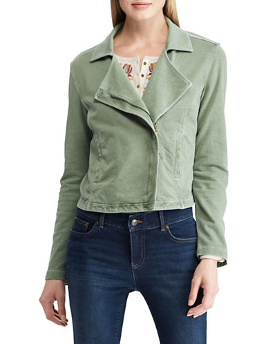 Chaps French Terry Cotton Moto Jacket-GREEN-Medium