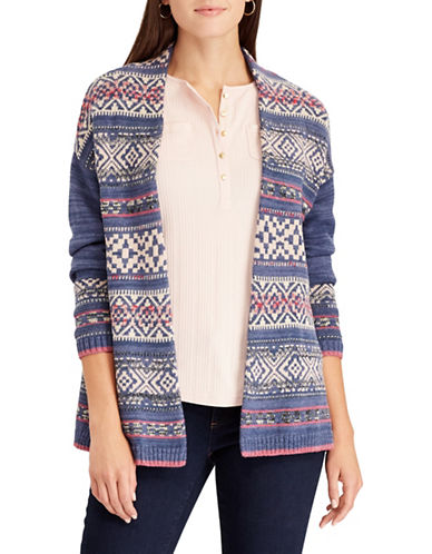 Chaps Fair Isle Open Front Cardigan-BLUE-X-Small