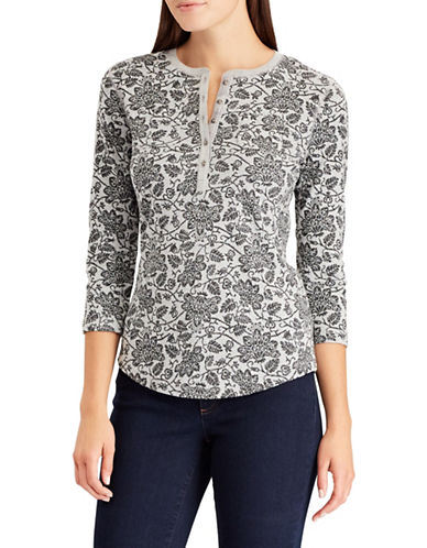 Chaps Floral Print Henley-GREY-Medium