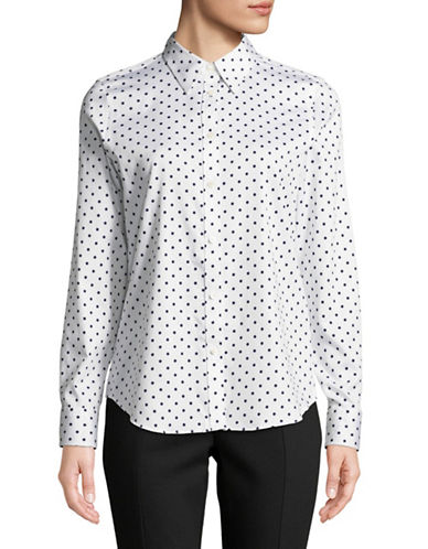 Chaps Polka Dot Long-Sleeve Cotton Button-Down Shirt-WHITE-Large
