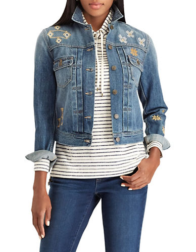 Chaps Petite Embroidered Denim Jacket-BLUE-Petite Small