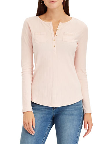 Chaps Petite Long-Sleeve Cotton Henley-PINK-Petite X-Small