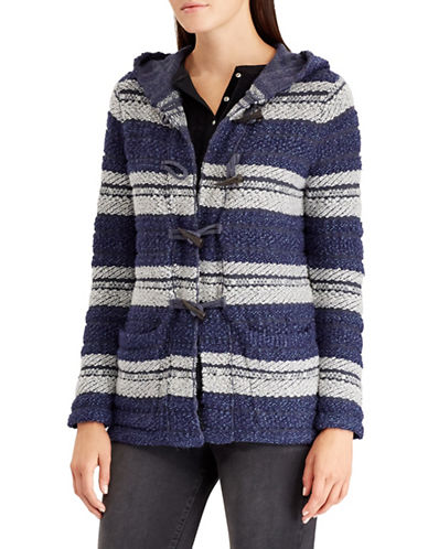 Chaps Petite Striped Toggle Cardigan-BLUE-Petite Medium