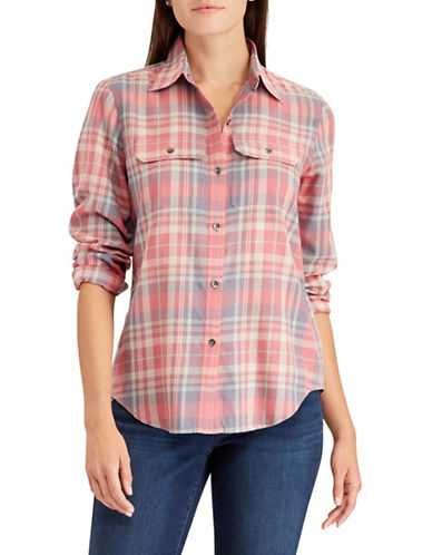Chaps Petite Plaid Cotton Workshirt-PINK-Petite X-Large