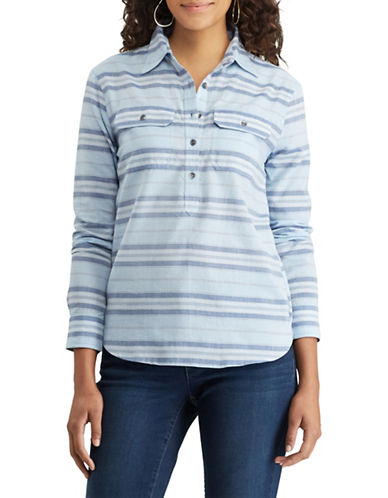 Chaps Petite Striped Chambray Workshirt-BLUE-Petite Medium