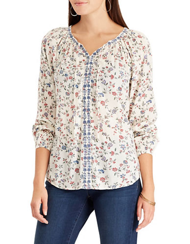 Chaps Petite Embroidered Floral Peasant Top-CREAM MULTI-Petite X-Small