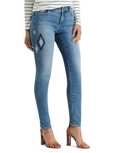 Chaps Petite Embroidered Stretch Mid-Rise Skinny Jeans-BLUE-Petite 8
