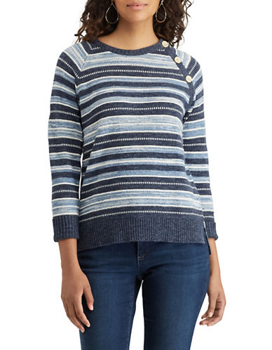 Chaps Petite Striped Cotton Sweater-BLUE MULTI-Petite Large
