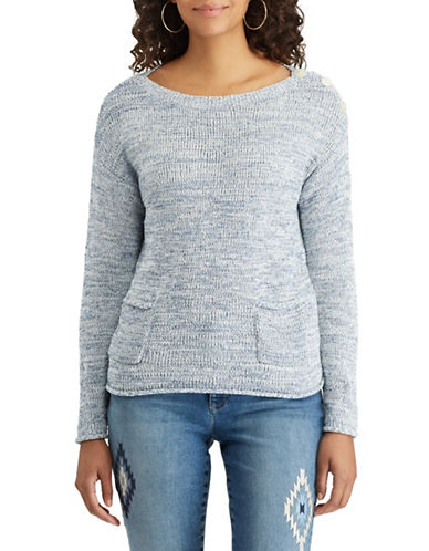 Chaps Petite Marled Boat Neck Sweater-BLUE-Petite Large