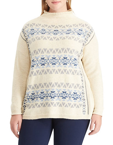Chaps Plus Fair Isle Patterned Sweater-WHITE-1X