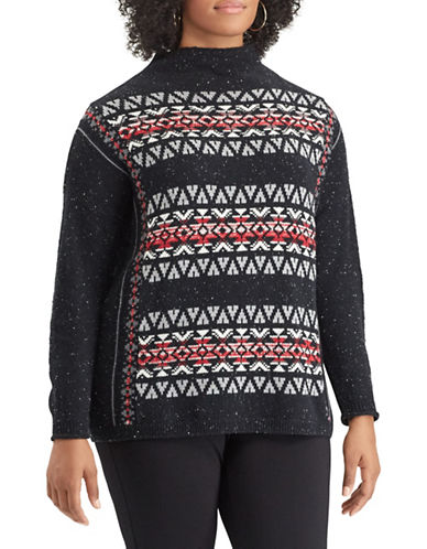 Chaps Plus Fair Isle Patterned Sweater-BLACK-2X
