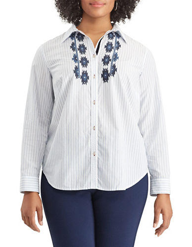 Chaps Plus Striped Cotton Button-Down Shirt-BLUE-1X