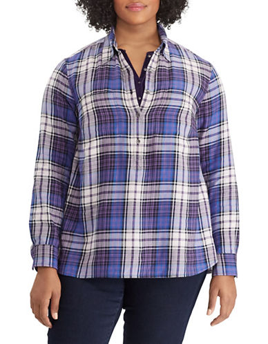 Chaps Plus Plaid Cotton Shirt-BLUE-2X