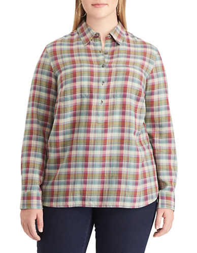 Chaps Plus Plaid Cotton Button Down Shirt-GREEN-2X