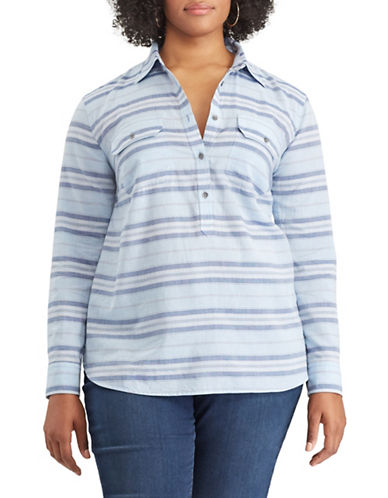Chaps Plus Striped Cotton Long-Sleeve Polo-BLUE-2X