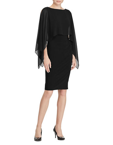 Lauren Ralph Lauren Crepe Overlay Dress-BLACK-16