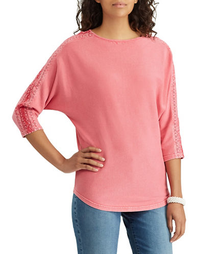 Chaps Lace Trim Cotton Top-PINK-X-Small
