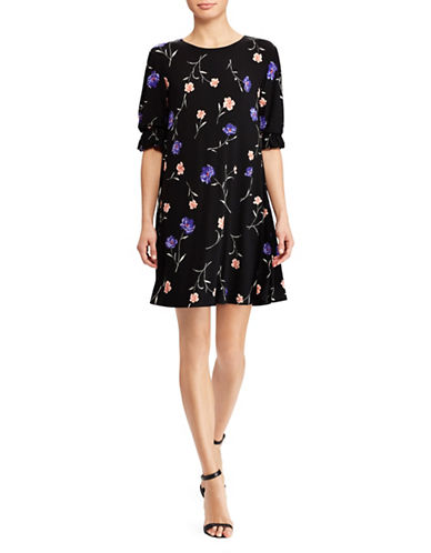 Lauren Ralph Lauren Floral Printed Jersey Dress-BLACK-2