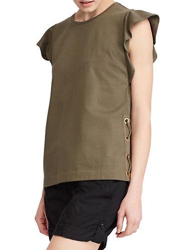 Lauren Ralph Lauren Flutter-Sleeve Cotton Tee-GREEN-Large 90089555_GREEN_Large