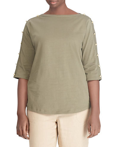 Lauren Ralph Lauren Plus Buttoned Shoulder Jersey Top-GREEN-2X 90048418_GREEN_2X